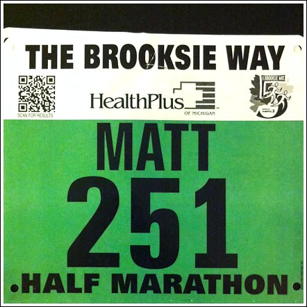 Brooksie Way Half Marathon Bib - 2012