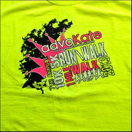 The front of the race shirt.